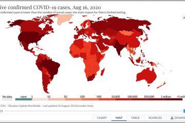 Online interaktívna mapa koronavírusu COVID-19